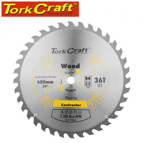 TCT SAW BLADE RIPPING 600X36T 40/30/25.4/20/16