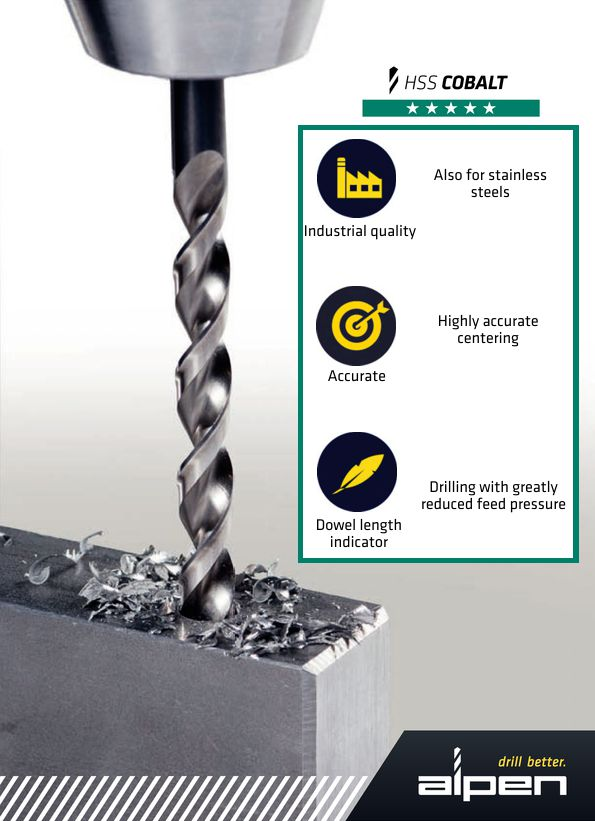 Alpen HSS Cobalt series drill bit features